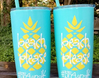 12 Beach Please Bachelorette Party Cups / Yeti like double wall tumblers / lid & straw / Bridesmaids / Personalized Cups / Pineapple / Gifts