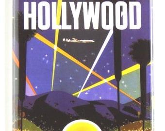 Hollywood California Travel Poter Fridge Magnet