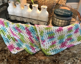 Crochet Kitchen Dishcloths -  Set of  3 - Crochet Washcloths - Handmade Cotton Washcloth - Ready to Ship