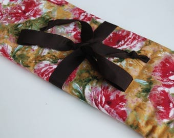 Bag for needles Knitting Needle Case Organizer-30 pockets for all size needles Rose pattern