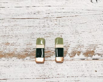 Ceramic Bar Earrings, Modern Jewelry, Unique Gift, Minimal Jewelry, Gift for Her, Modern Earrings, Forest Green, Sage, Rose Gold, Ceramics