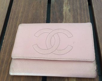 Distressed Authentic Vintage Chanel Pink Caviar Leather Wallet Bill Fold Made in Italy