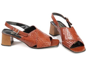 Woven Leather Sandals 70s Brown Leather Slingback Slip On Braided Mules Criss Cross Strap Summer Open Toe Chunky Heel Us 6.5 , Eur 37 , Uk 4