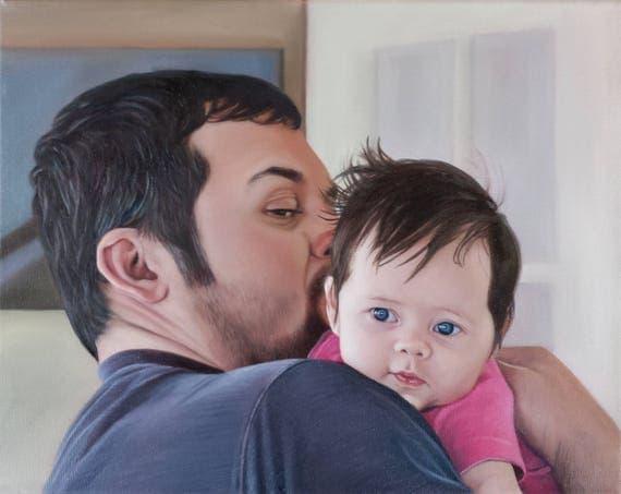 CUSTOM PORTRAIT - Oil Painting - Family Portrait - Custom Painting -Baby Portrait - Unique Gift