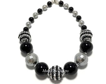 Toddler or Girls Black and Silver Chunky Necklace - Silver Pearl Necklace - Girls Monochrome Necklace - New Years Eve Chunky Necklace