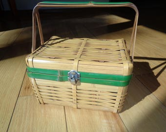 Retro Rustic Country Style Bamboo Basket with Green Handles and matching trim in Very Good Condition