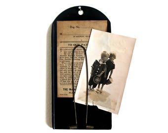 vintage industrial receipt holder, McCaskey, industrial salvage, vintage clipboard, wall receipt holder