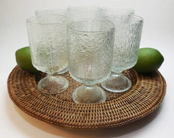 Vintage Indiana Glass Wine Tumblers - Set of 6 - Holds 8 ounces - 5  1/8 Inches Tall, Crystal Ice - Bark Glass - Tree Bark Glass - Juice