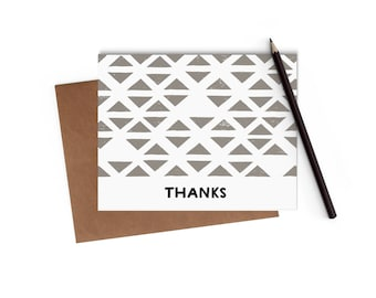 Block Printed - Thank You Card - Blank Card - Digitally Printed A2 Cards w/ envelope
