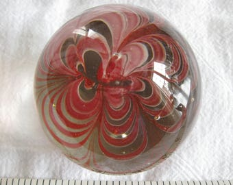 Fanciful Clear Glass Ogival Shaped Paperweight Shades of Rose Pink Swirls