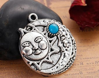 1 Sun Moon Charms - Antique Silver - 34x30mm - Ships IMMEDIATELY from California - SC1370