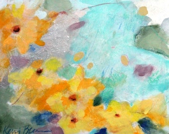 """Loose Abstract Floral Painting, Intuitive Original Art, Small, Under 100, """"Sun Drops""""8x10"""""""