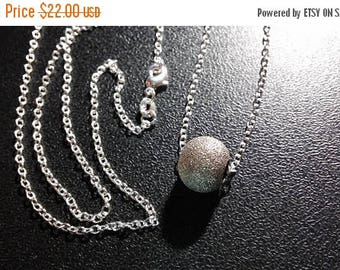 Etsy On Sale Silver Sparkle Bead Necklace, 9x11mm Bead, on a 30inch .925 Sterling Silver Cable Chain, Graduation Gift, Wedding Gift, Fathers