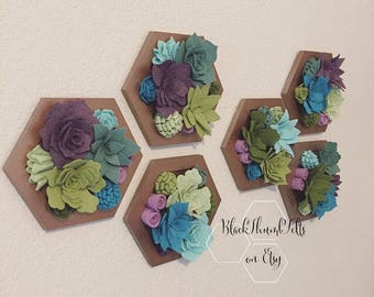Vertical Garden, Felt Succulents, faux flowers, blooms, wall decor, wood hexagons, rustic, farmhouse style, collection, quick hang