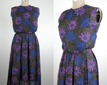 Vintage 1950s Dress 50s 60s Purple and Blue Floral Pleated Dress Size S