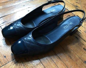 1990s Navy Blue Captoe Slingback Heels
