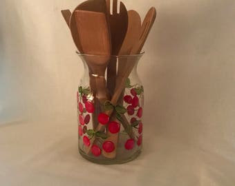 Hand painted cherry glass vase or utensil holder