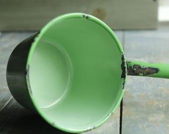 Vintage Enamel Porcelain Ladle Dipper Green Enamel Ware Rustic Wedding Serving Primitive Farmhouse Decorating