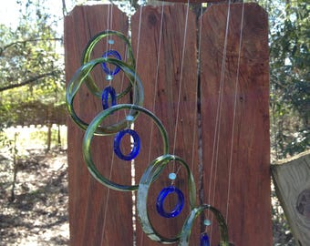 green, blue, GLASS WINDCHIMES- RECYCLED bottles, eco friendly, garden decor, wind chimes, mobiles, windchimes, soothing music