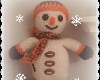 On Sale Football Snowman Ornament Handmade Custom Made to Order Handmade Crochet Approximately 8 inches tall