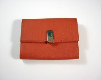 Liz Claiborne Orange/Peach Faux Leather Wallet Tri fold w/ flap and back zip coin pocket / silver toned metal designer hardware