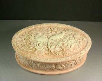 Pale Pink and White Incolay Stone Birds of Paradise Jewelry Trinket Box / LARGE