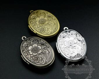 5pcs 23x29mm brass antiqued silver,bronze,silver flower engraved vintage oval photo locket pendant charm supplies 1121052