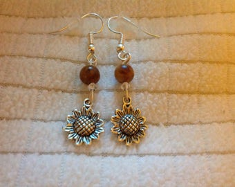 Sunflowers with Moroccan agate Earrings