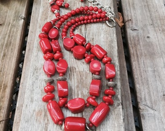 Red Coral Necklace Bold Statement Red necklace Gemstone Necklace