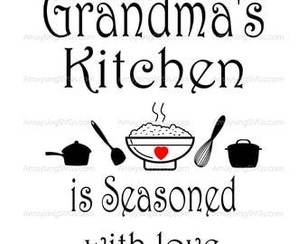 SVG - Grandmas Kitchen is Seasoned with Love - Kitchen decal svg - Grandma svg - Mothers Day svg - Grandparents day svg - Tea Towel svg