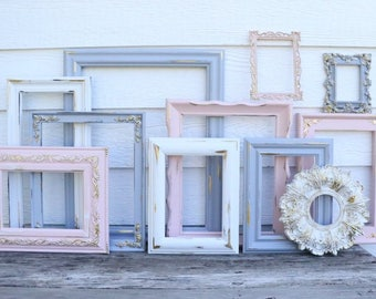 Set of 11 Gray, Blush Pink, White Open Frames - Pink Grey Gold - Nursery Frames - Wedding Frames - Ornate, Oval, Frames - French Country