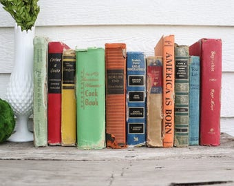 Set of 11 Vintage Books - Antique Book Decor - Photo Props -Wedding Decor- Blue, Green, Orange, Red - Rustic Books - Rainbow - Cook Book