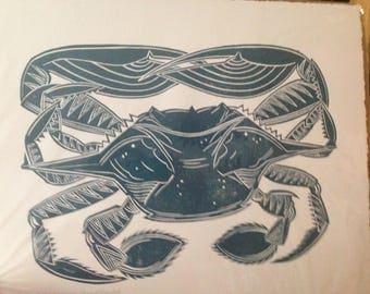 Linocut crab print