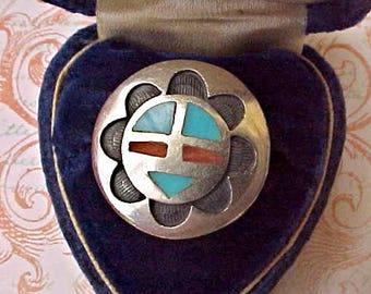 Handsome Vintage Native American Made Sterling Silver Ring with Turquoise and Coral