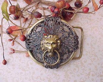 Large and Dramatic Renaissance Look Belt Buckle with Lion's Face and Filigree