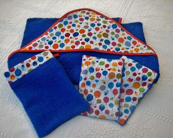 Plus size hooded towel with oven Mitt and washcloth
