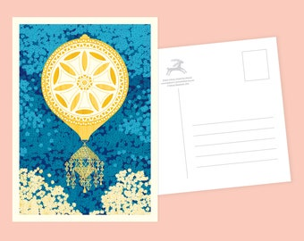 Hot Air Balloon Postcard or Postcard Set - Inspired by Lithuania Series