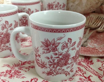 Set of 4 English Coffee Cups with Vintage Transferware Look and Pattern Mixes well with all Red Transferware