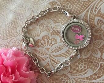 Glass Locket Breast Cancer Warrior Bracelet Breast Cancer Awareness Jewelry Hope