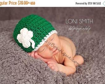 SUMMER SALE Baby Leprechaun 4 Leaf Clover Shamrock Hat - Crochet Newborn Beanie Boy Girl Costume Winter  Photo Prop Cap Christmas Outfit
