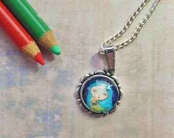 Blue Whimsy Girl Necklace, Necklaces, for women, Fashion necklaces, Wearable Art, Pendant Necklace, Art Necklace, Gift For Women, Whimsy