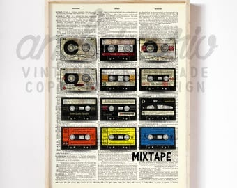 Good Old Fashioned Mix-tape Vintage Print on an Unframed Upcycled Bookpage