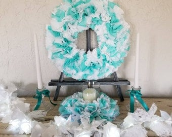 Teal Wedding Set, Wedding Unity Candle Set, Unity Candle Set, Teal Wedding Centerpieces, Teal Wedding Decor, Teal Centerpiece, Teal Wreath