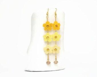 Crochet earrings -Yellow earrings -Tiny flowers - Long earrings