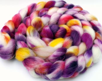 "Hand painted superwash merino/nylon spinning fiber/roving in ""Dahlias"""