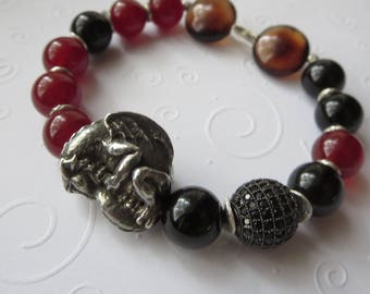 Dragon Stretch Bracelet with Black Onyx Deep Red Carnelian Black Crystal Sterling Silver