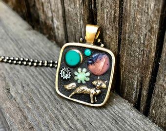 Fox mosaic Fox Art necklace