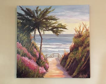 Beach oil painting, Ocean oil painting, oil painting ocean, Santa Barbara oil painting,  beach art, Beach painting,Mesa Lane,  lynn fogel