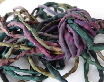 5 hand dyed silk strings approx 1.2m each  - string set 34