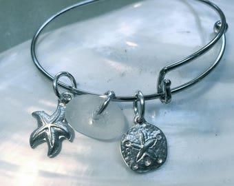 Maine Atlantic sea glass adjustable bangle charm bracelet,beach themed bracelet,add a charm feature,sea bracelet,beachcomber bangle bracelet